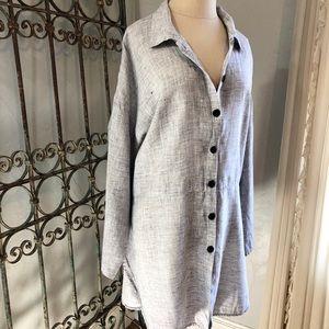 Flax Linen Shirt Oversized Button Down Shirtdress